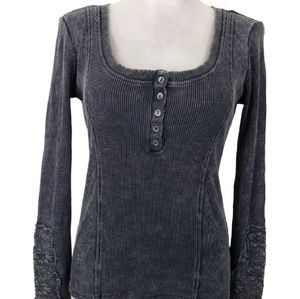 Others Follow Top Womens Sz S Gray Lace Panel Cuff